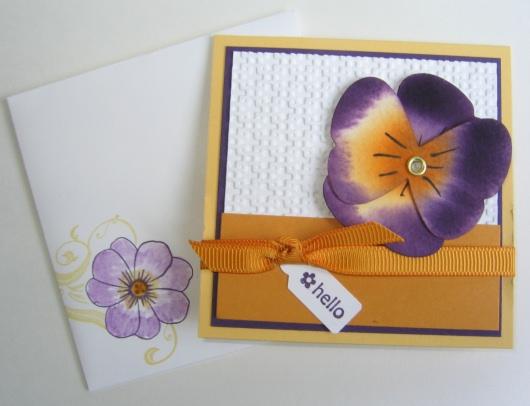 Pansies Card closeup
