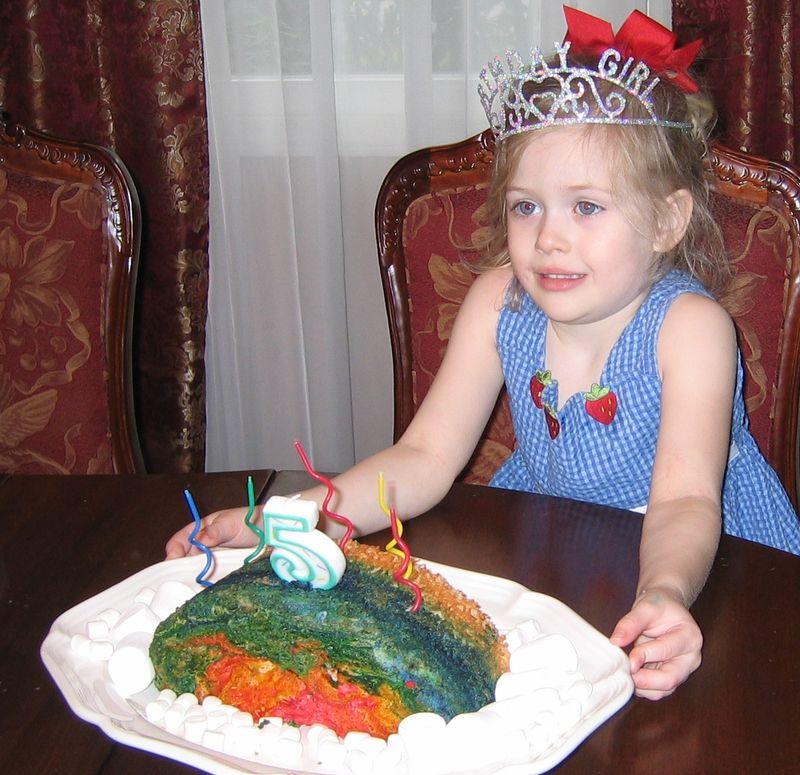 Sophie and Rainbow Cake