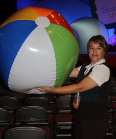 Angie with beach ball