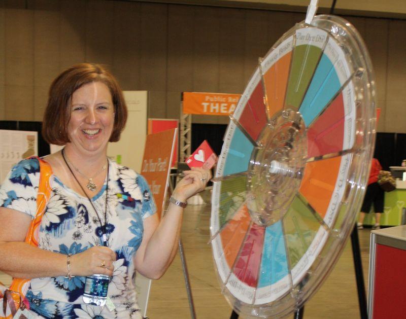 Darla spinning prize wheel