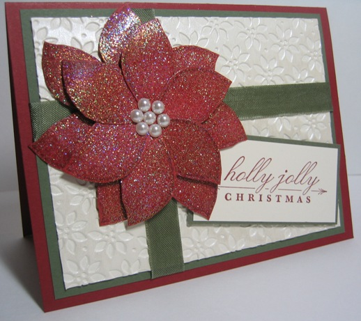 Poinsettia cards iridescent white shimmer 2