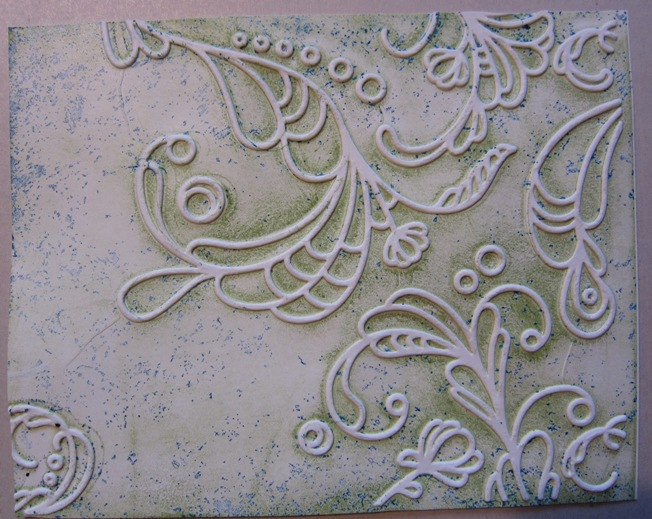 Inked impressions - green embossed