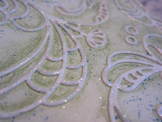 Inked impressions - green glitter