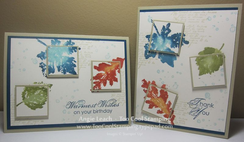 Watercolor leaves trio - two cool