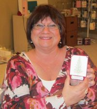 Cheryl with gift card holder