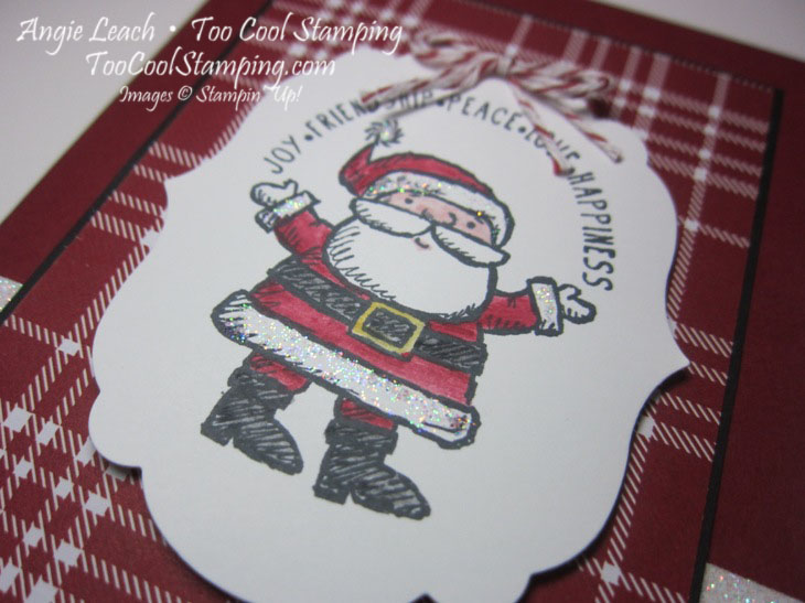 Santa label - cherry plaid 2