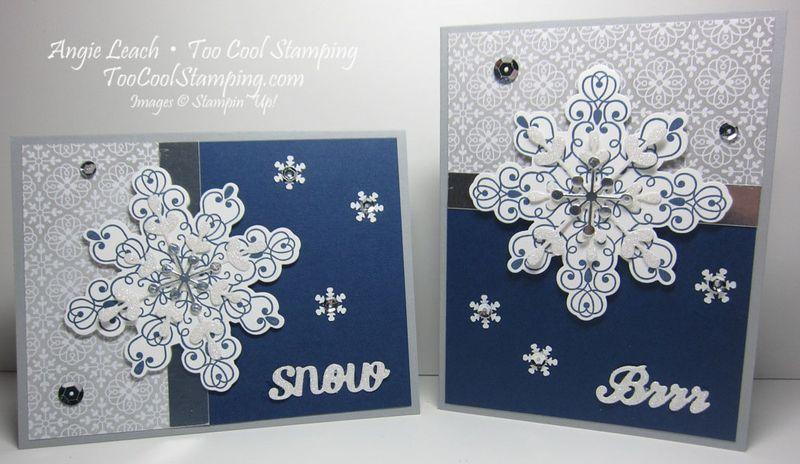 Letterpress navy snowflake - two cool
