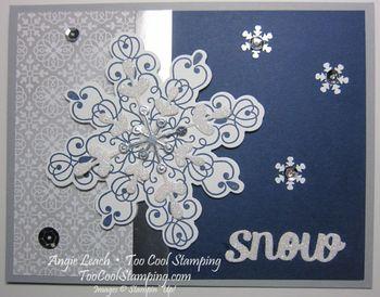 Letterpress navy snowflake - snow