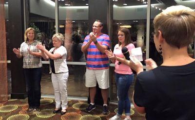 Hotel staff thanking us