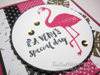 Pop of pink flamingo gold - leaves circle 3