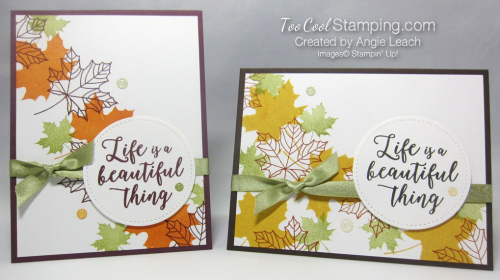 Colorful seasons falling leaves - two cool
