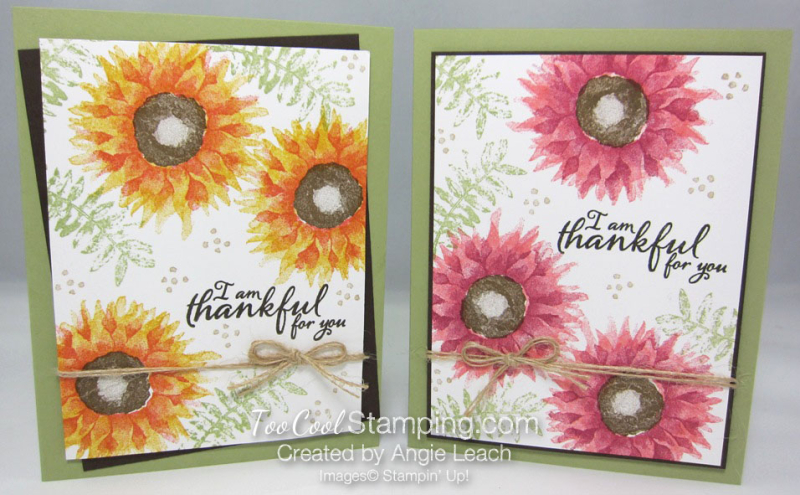 Painted harvest thankful cards - two cool