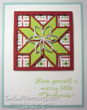 Christmas Quilt Recessed Star - lime red star 1