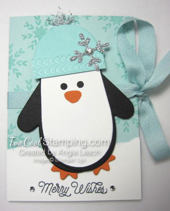 Mitten penquin gift card holder - front