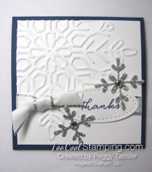 Navy tags - swirly snowflakes