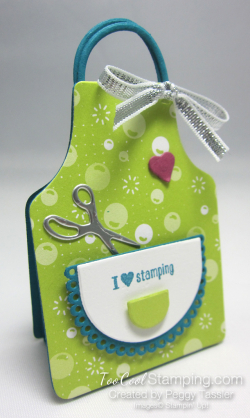 Apron of love nugget holders - lime stamping