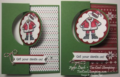Santa on flip card - two cool