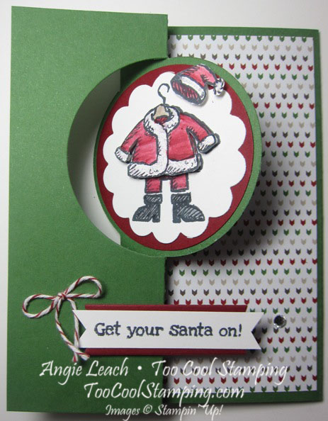 Santa on flip card - white
