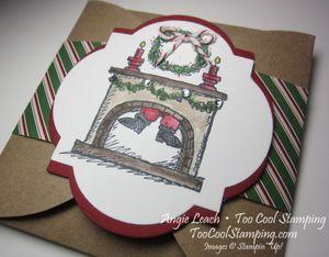 Santa on gift card - stripes