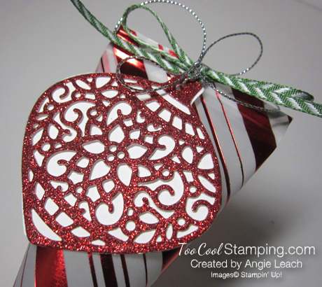 Holiday fancy foil vellum sour cream containers - stripes ornament