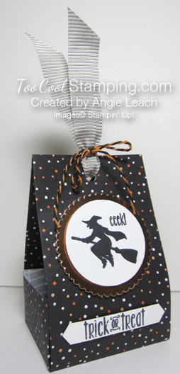 Spooky fun halloween treat totes - black dots witch 2