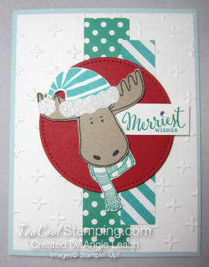 Merriest Moose - blues with red circle 1