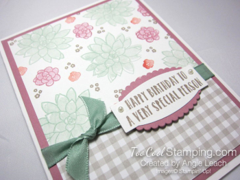 Succulent Gingham Birthday - mint floral 2