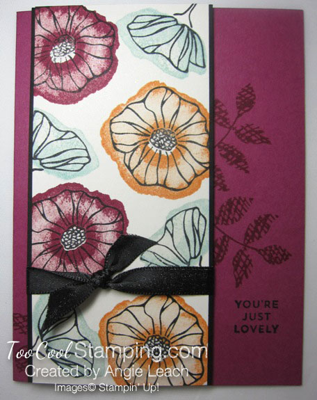 Oh so eclectic stamped background - berry burst