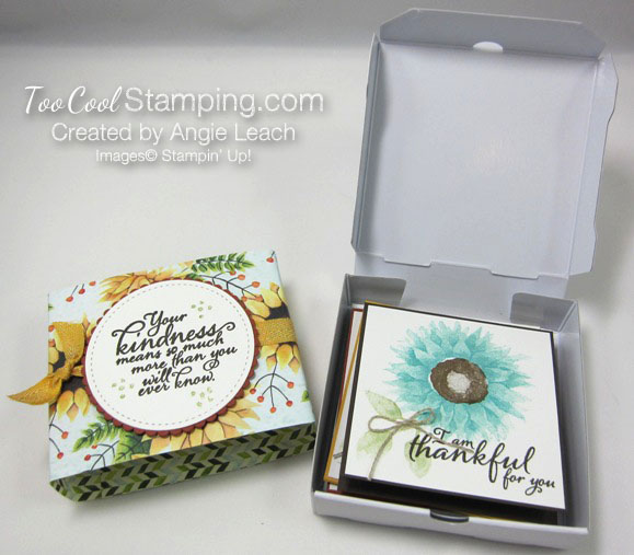 Painted Harvest Pizza Box Note Cards - box & band