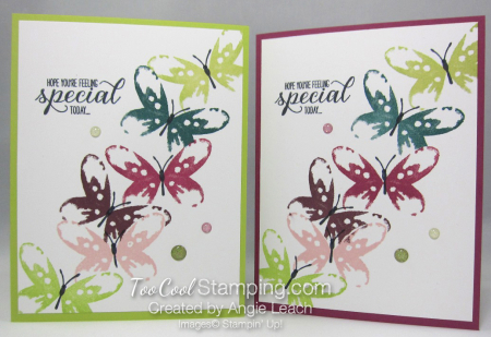 Watercolor wings in color cards - two cool