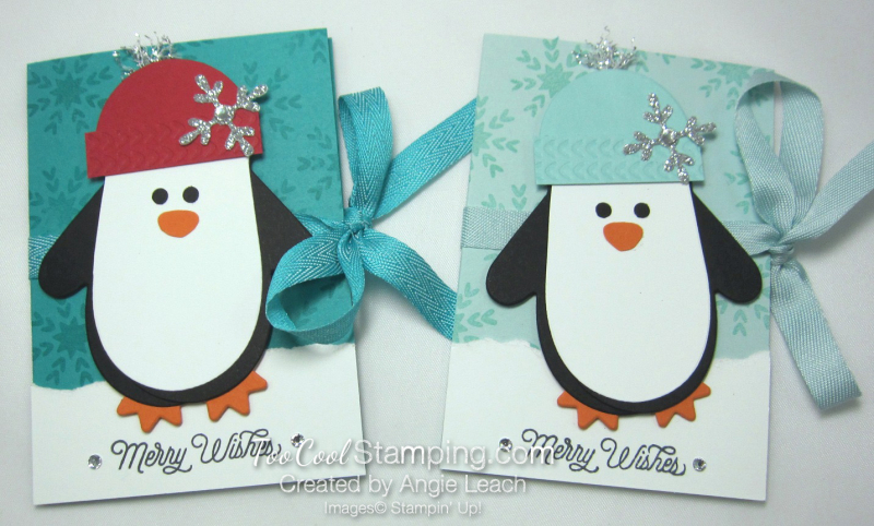 Many mittens penguin gift card holder - two cool