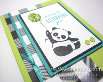 Party pandas checked - lime 2