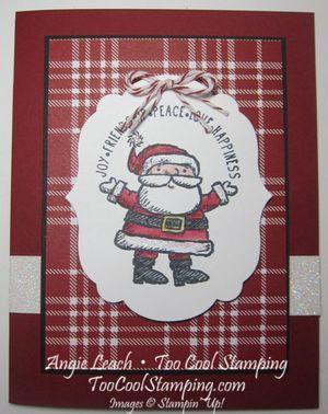 Santa label - cherry plaid