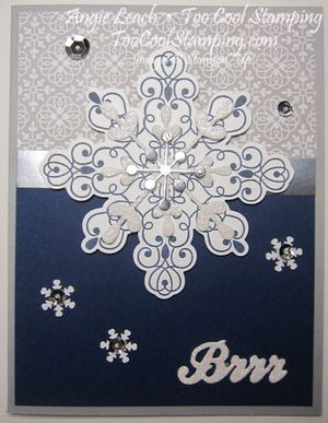 Letterpress navy snowflake - brrr