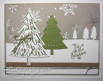 Peaceful pines snow trees - lights