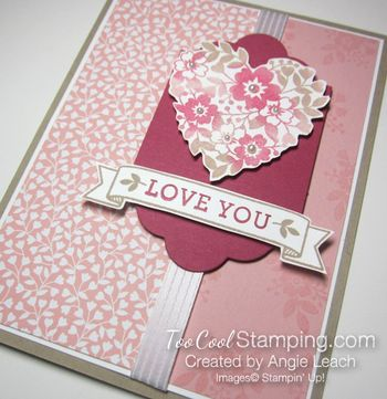 Bloomin love sponged heart - love you 3