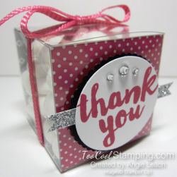 Pop of pink thank you treat boxes - dots