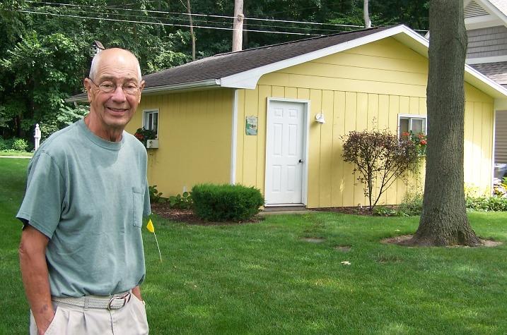 Dad by lake garage