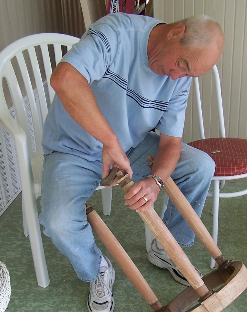 Dad fixing stool