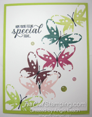 Watercolor wings in color cards - lime
