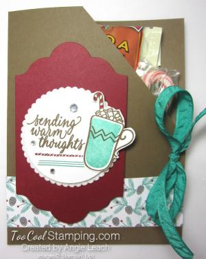 Hot cocoa pouches - cherry mat & emerald mug