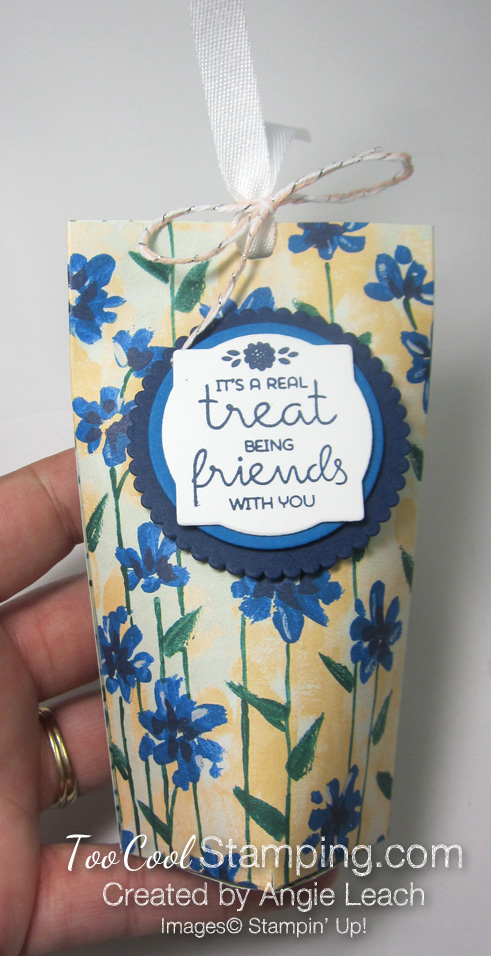 Mini square bottom treat pouch - blue & yellow hand