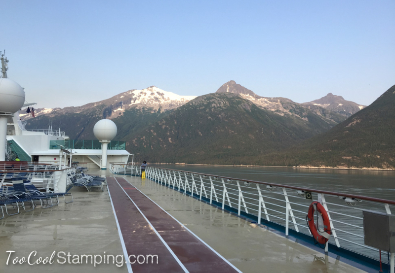 Ship - track with mountains