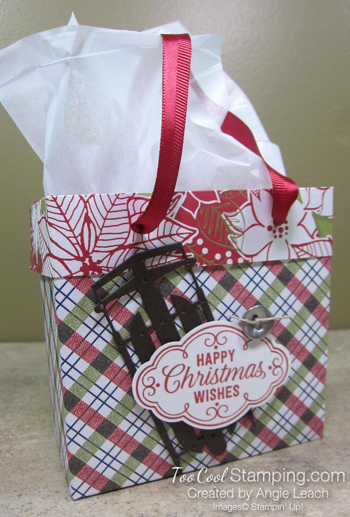 Dsp mini gift bags - plaid poinsettia