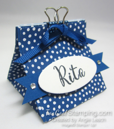Mini Pouch With Binder Clip - blueberry dots
