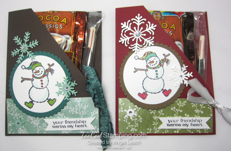 Spirited snowman hot cocoa pouches - two cool