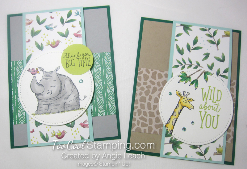 Animal outing front flap cards - two cool