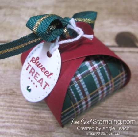 Wrapped in plaid curvy keepsakes box - sweet treat