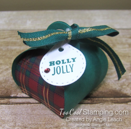 Wrapped in plaid curvy keepsakes box - holly jolly