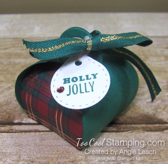 Wrapped in plaid curvy keepsakes box - holly jolly